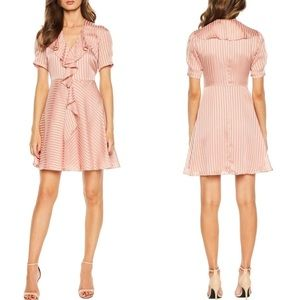 Bardot Orchid Pink Frill Satin Striped Mini Dress